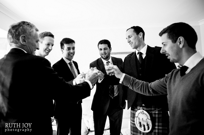 Groom drinking Whisky